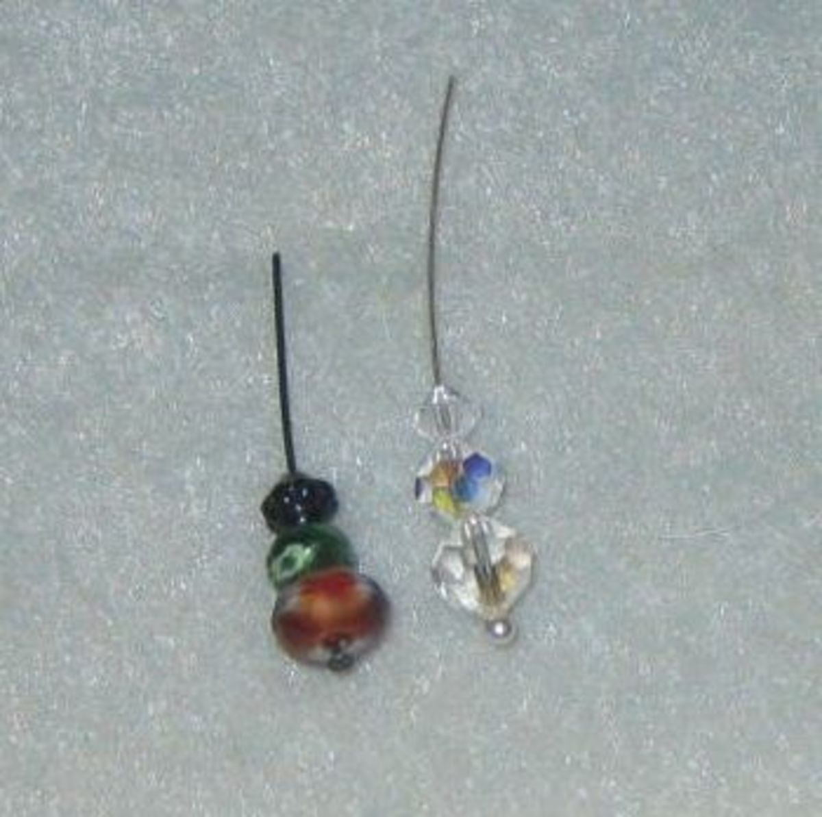 Thread beads on the headpins.
