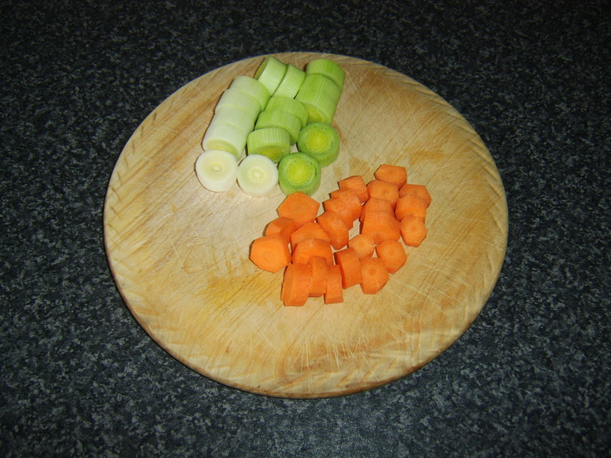 Carrots and leek are simply chopped for soup