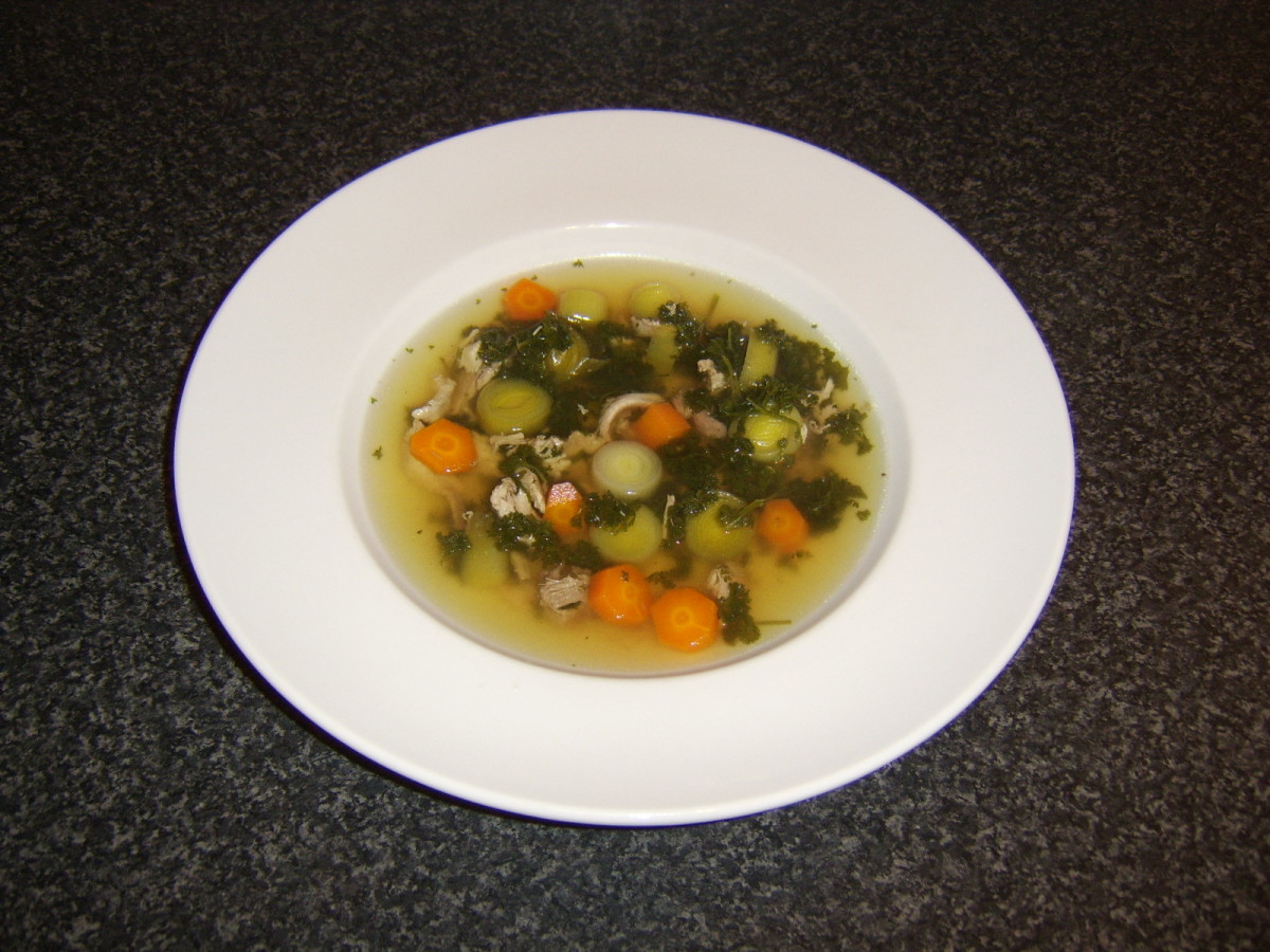 A delicious soup made from the roasted and boiled pheasant carcasses