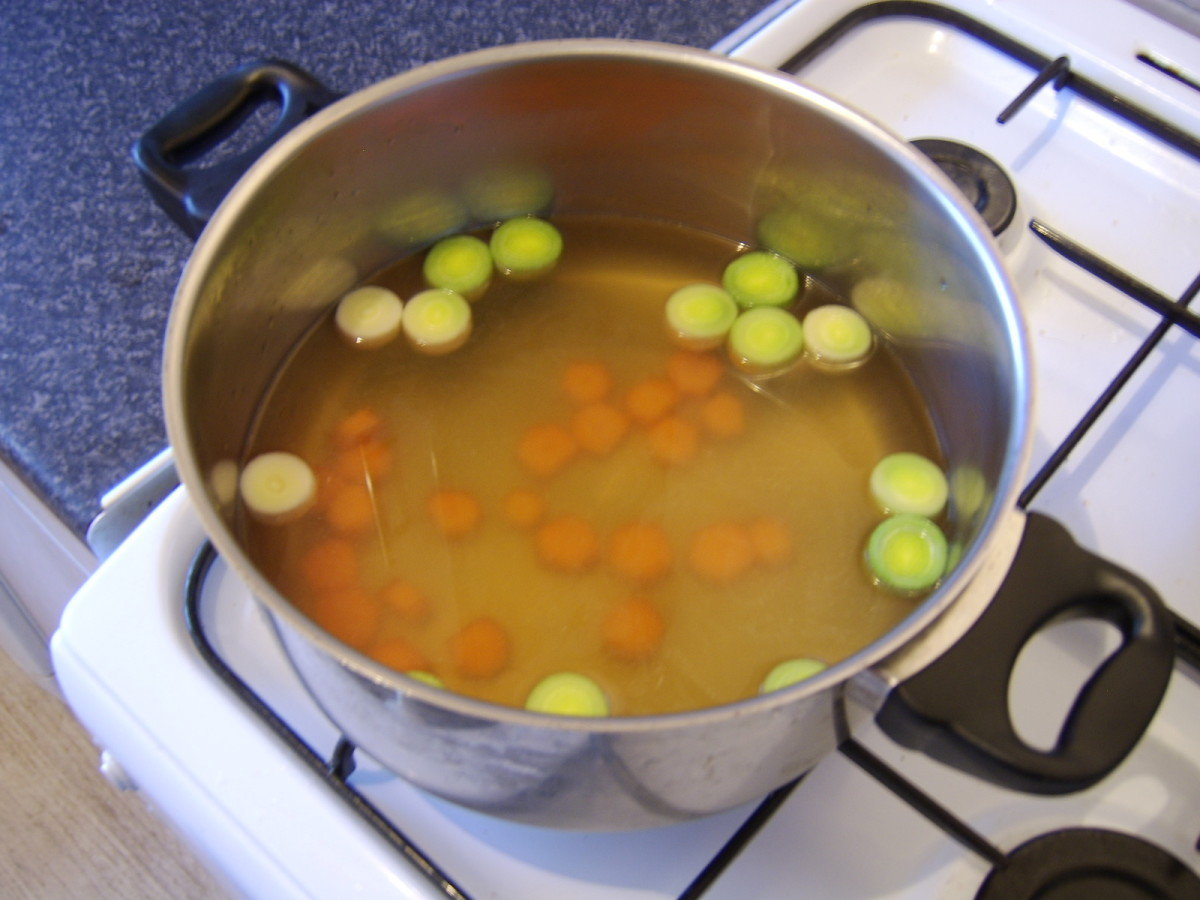 The vegetables are firstly boiled in the game stock