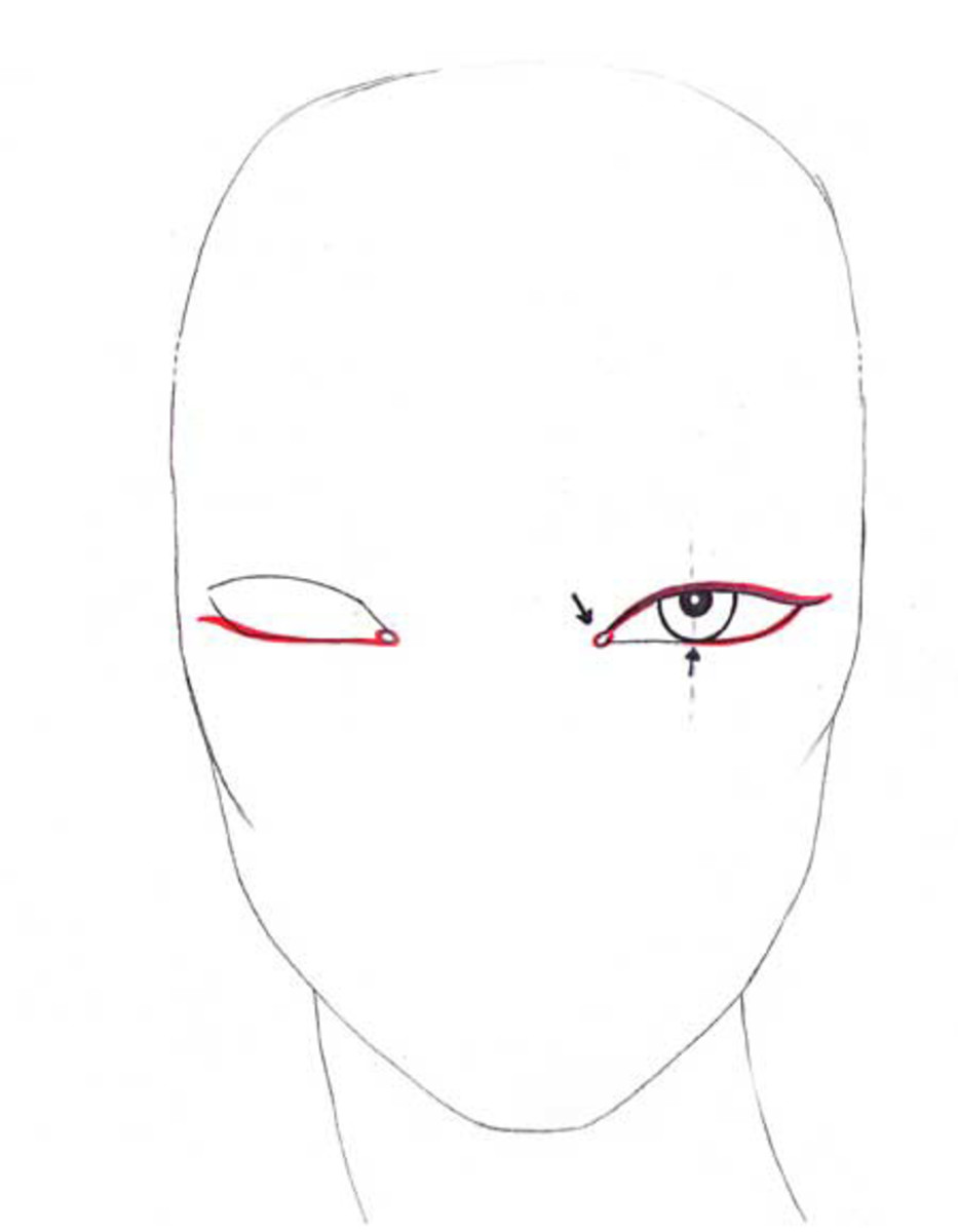 Outline the eye. Fashion illustrations look great with thick eyeliner. Add the tear ducts.