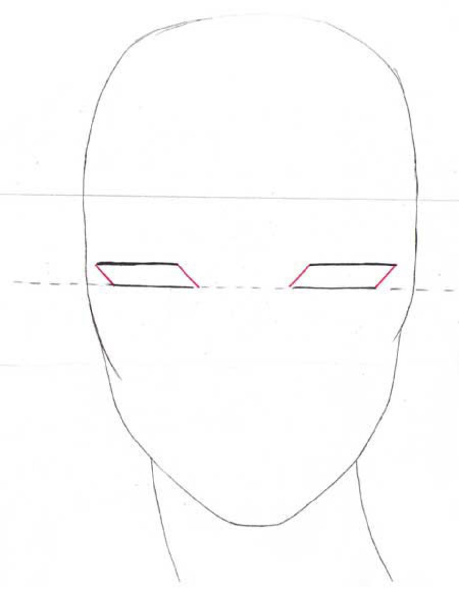 Close the shape of the eyes  by tilted lines as shown.