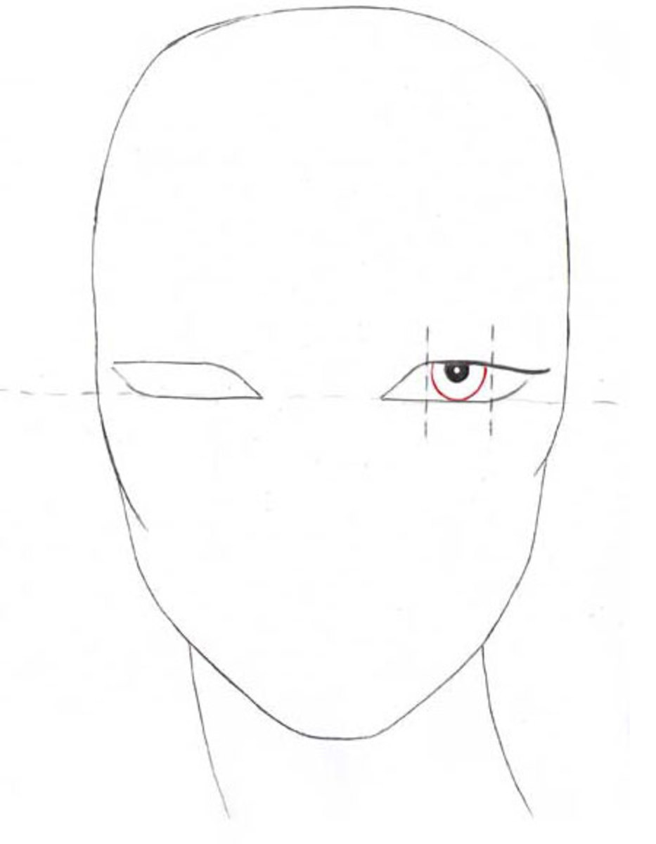 In the middle 1/3 of the eye draw two half-circles. Never draw whole circles or your fashion figure will look scared or surprised.
