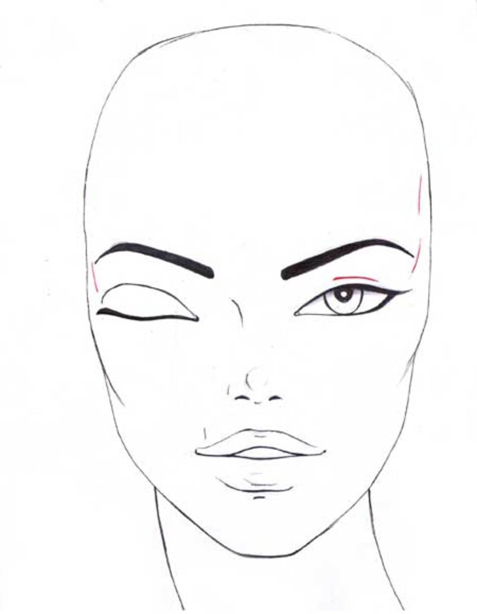 Finish your fashion sketch by adding eyebrows and the rest of the features.