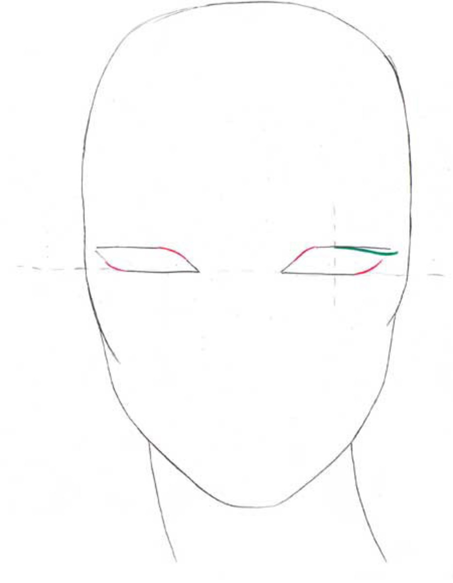 Soften the edges of the eyes. Starting from the middle of the opened eye draw the lashes.