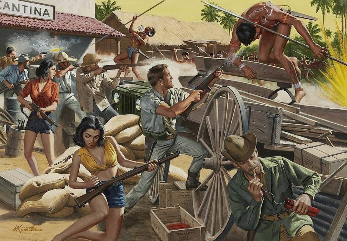 Holding Them Off at the Cantina, 1965. Art by Mort Kunstler