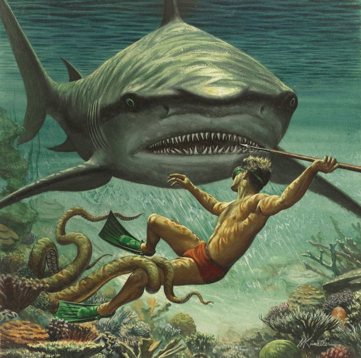 I Fought the Sea Killer, 1956. Art by Mort Kunstler