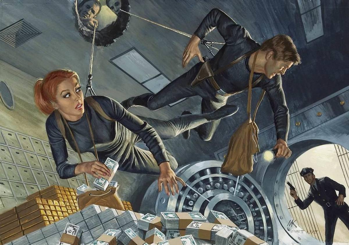 Bank Vault Heist, 1968. Art by Mort Kunstler