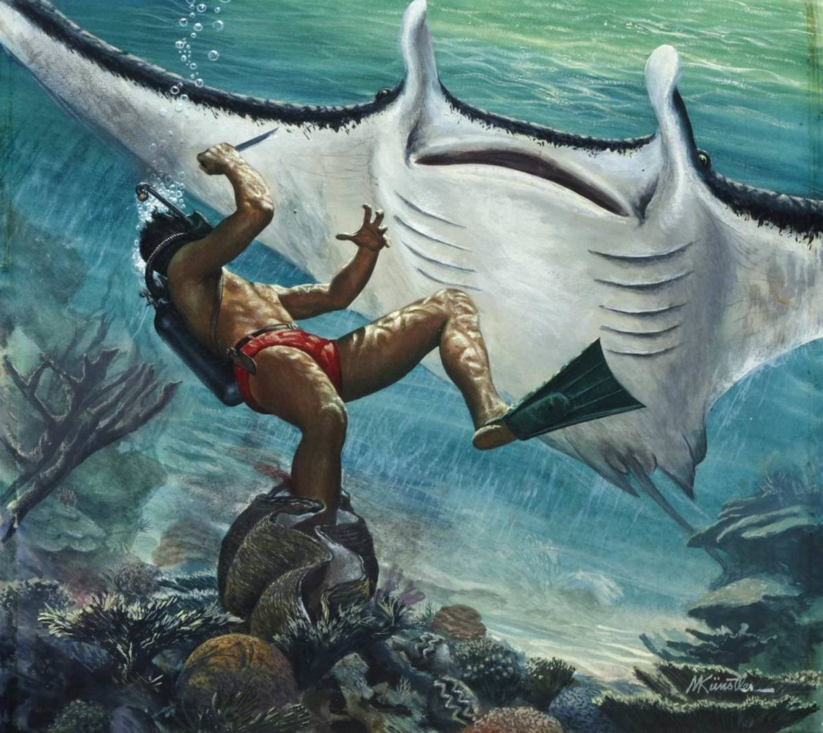 The Giant Manta-Ray, February 1956. Art by Mort Kunstler