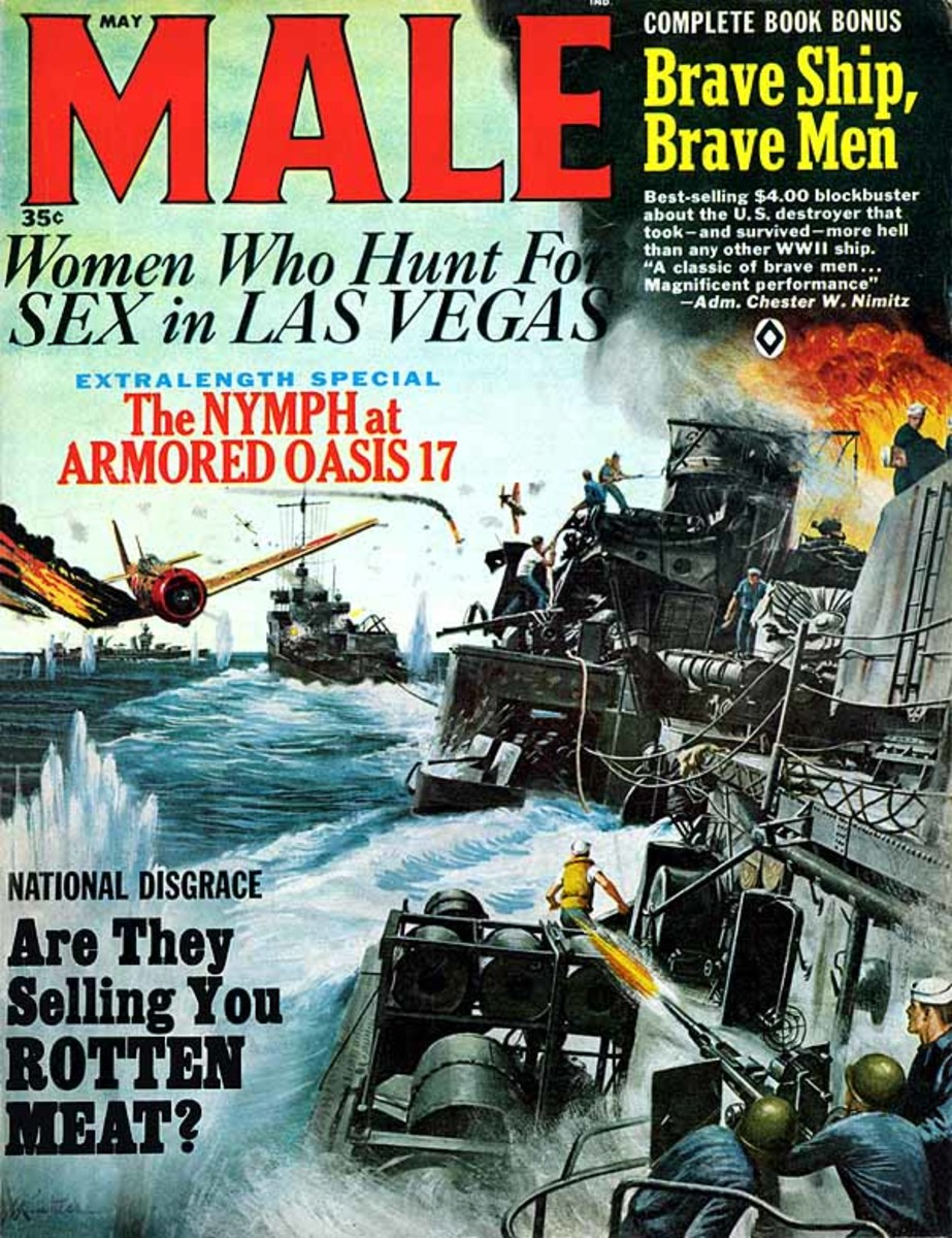 Male magazine. Art by Mort Kunstler.