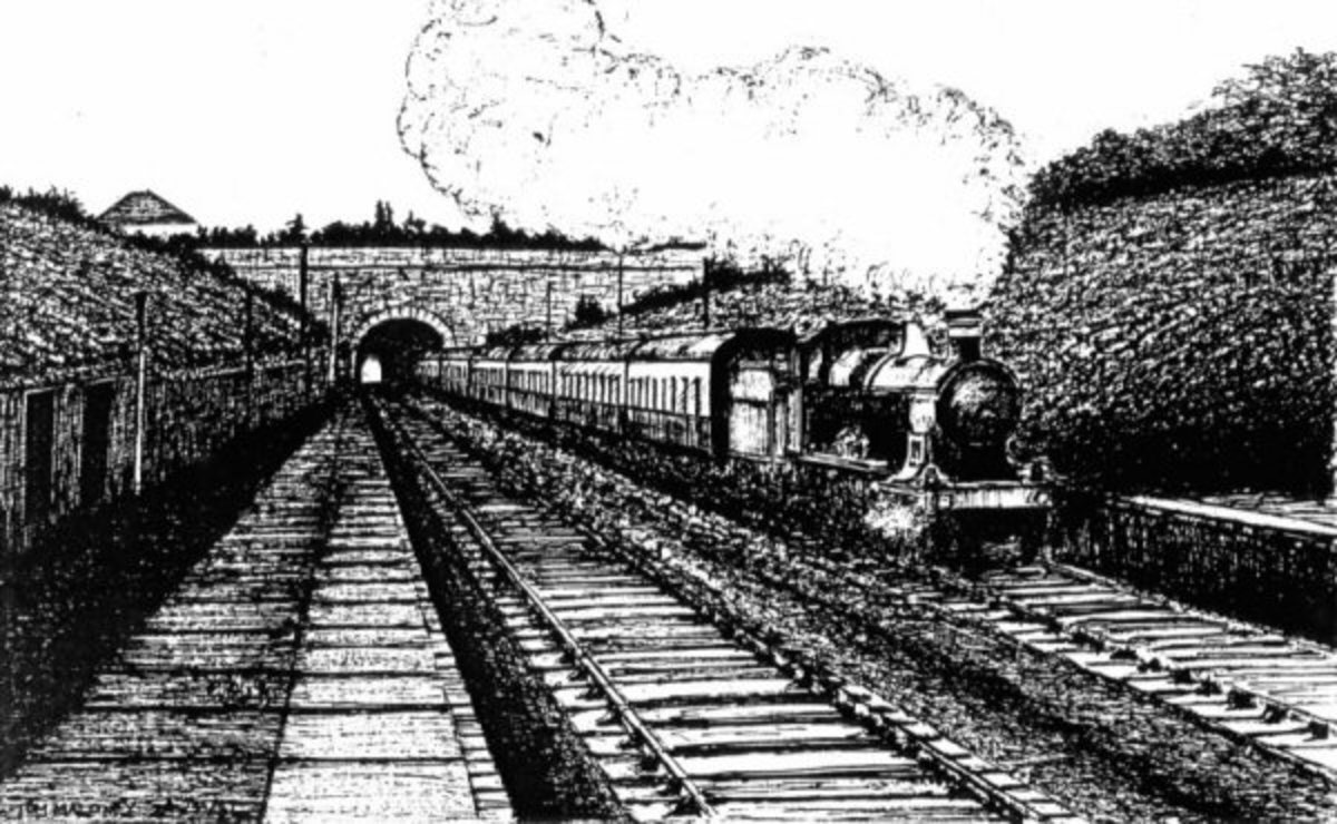 Artist impression by Tom Maloney of Staple Hill railway tunnel in the 1960s, Bristol, England.
