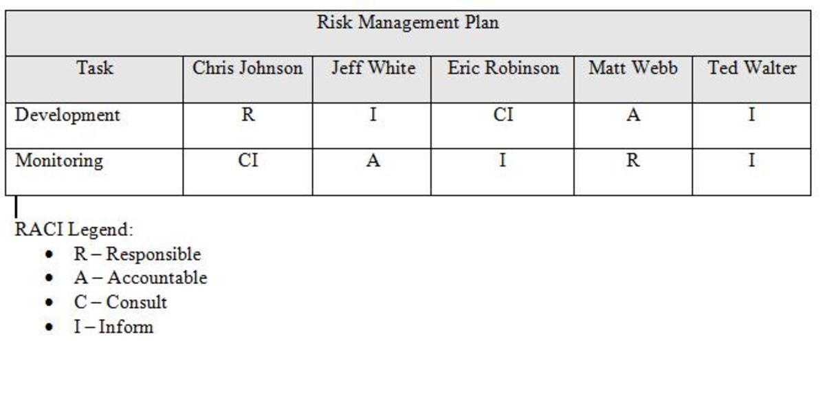 Table 2: RACI Matrix