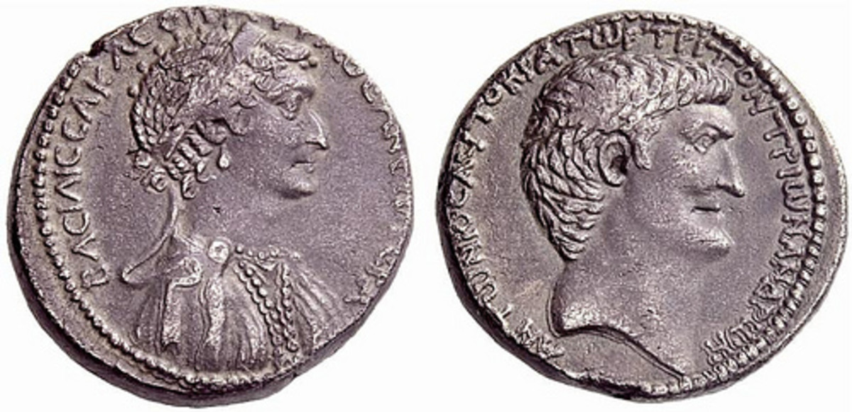 "Roman Provincial Silver Tetradrachm of Marc Antony and Cleopatra VII"" by Ancient Art  (Cleopatra on the left, Marc Antony on the Right)"