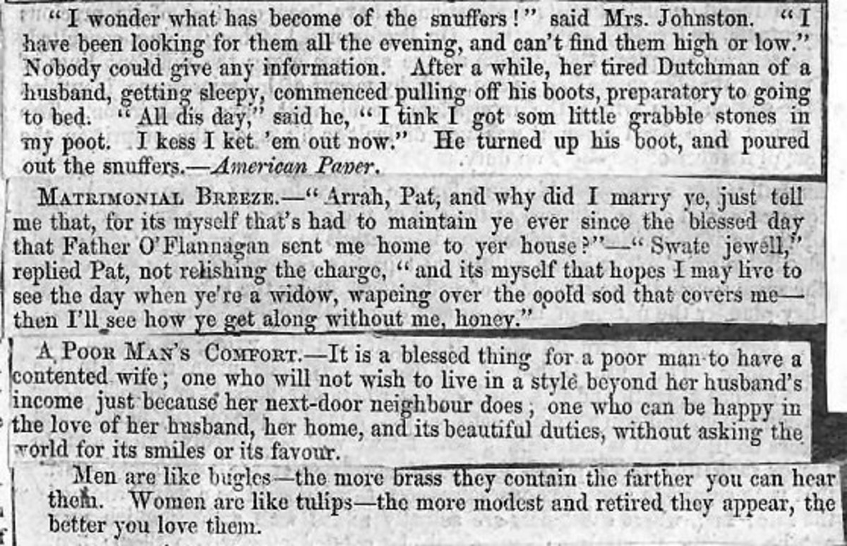19th century humour published in British and American newspapers
