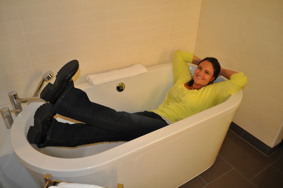 A bathtub is a great way to relax. Definitely puts a smile on my face!