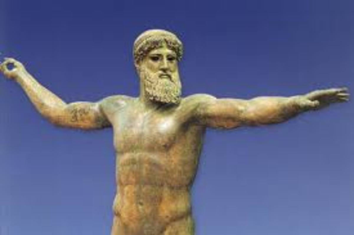 Bronze statue of Zeus in Athens, Greece National Archaeological Museum