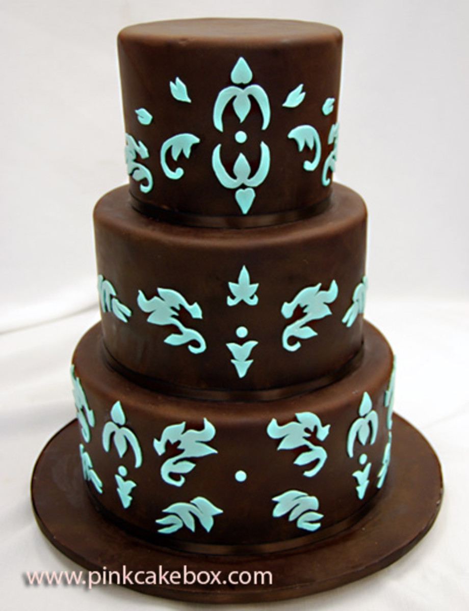 Chocolate turquoise wedding cake