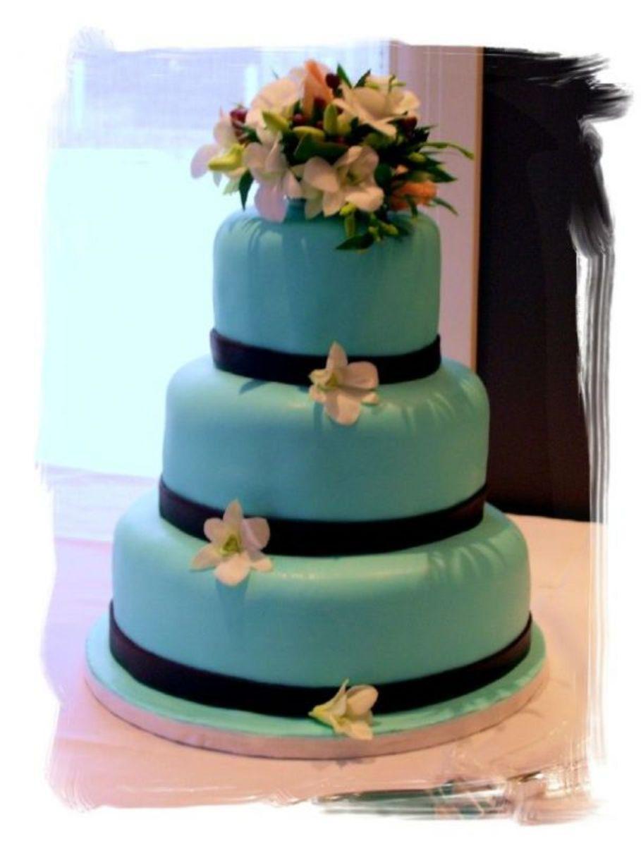 Chocolate turquoise wedding cake