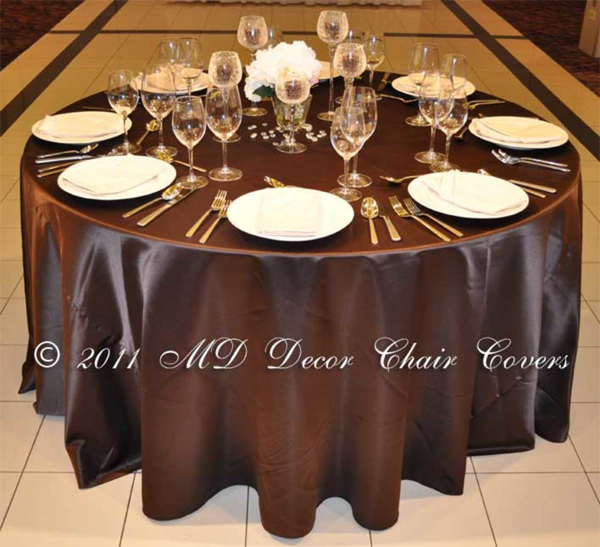 dark chocolate lamour satin tablecloth photo credit: mddecorchaircovers.com