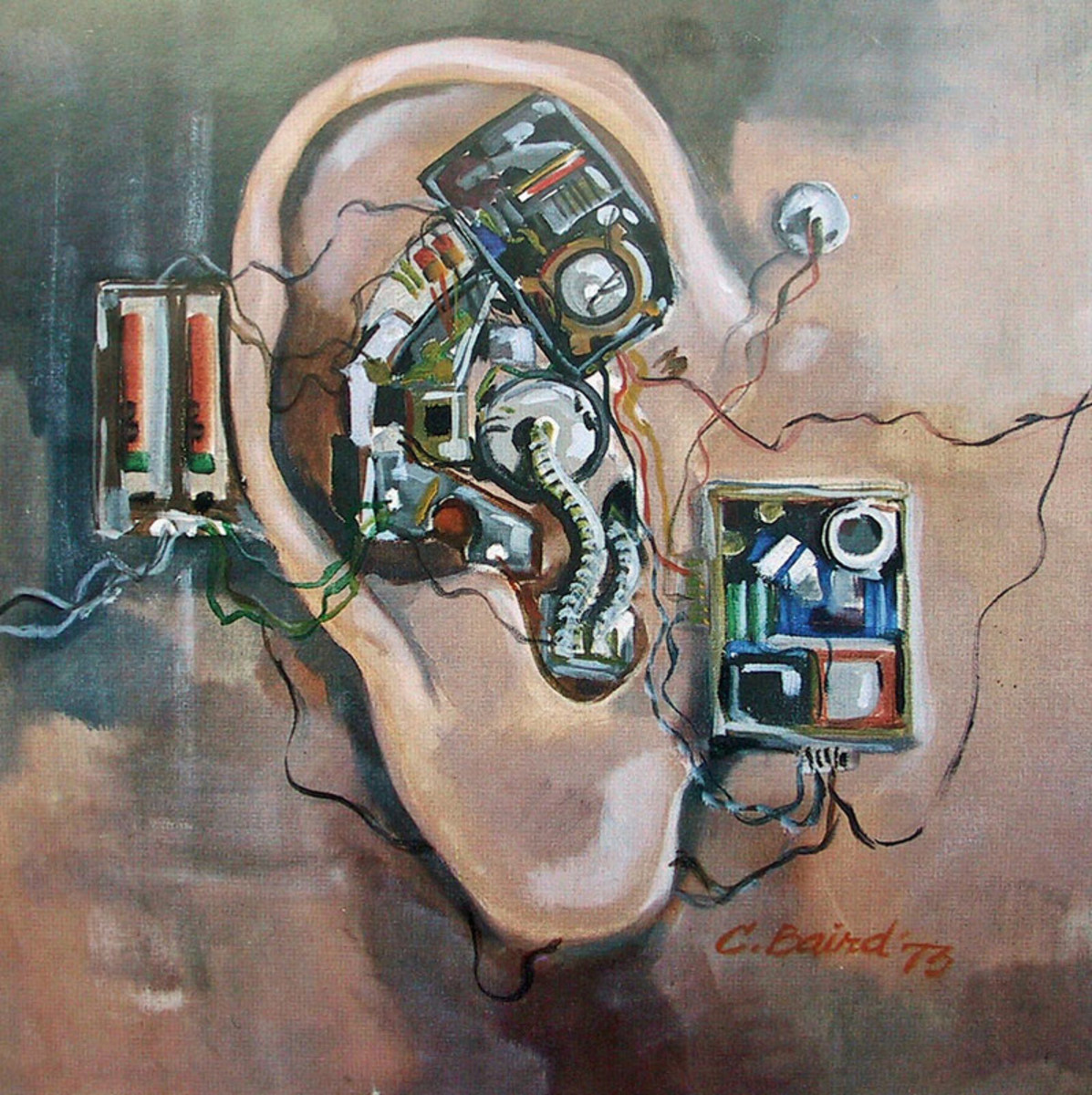 Mechanical Ear by Chuck Baird This shows the Deaf Culture's aversion to hearing aids and cochlear implants