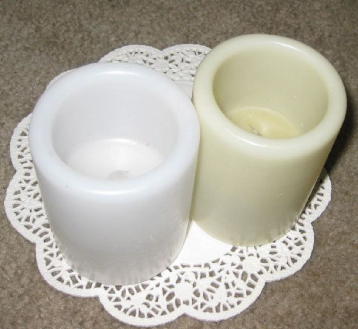 Paper doilies to use to decorate flameless candles.
