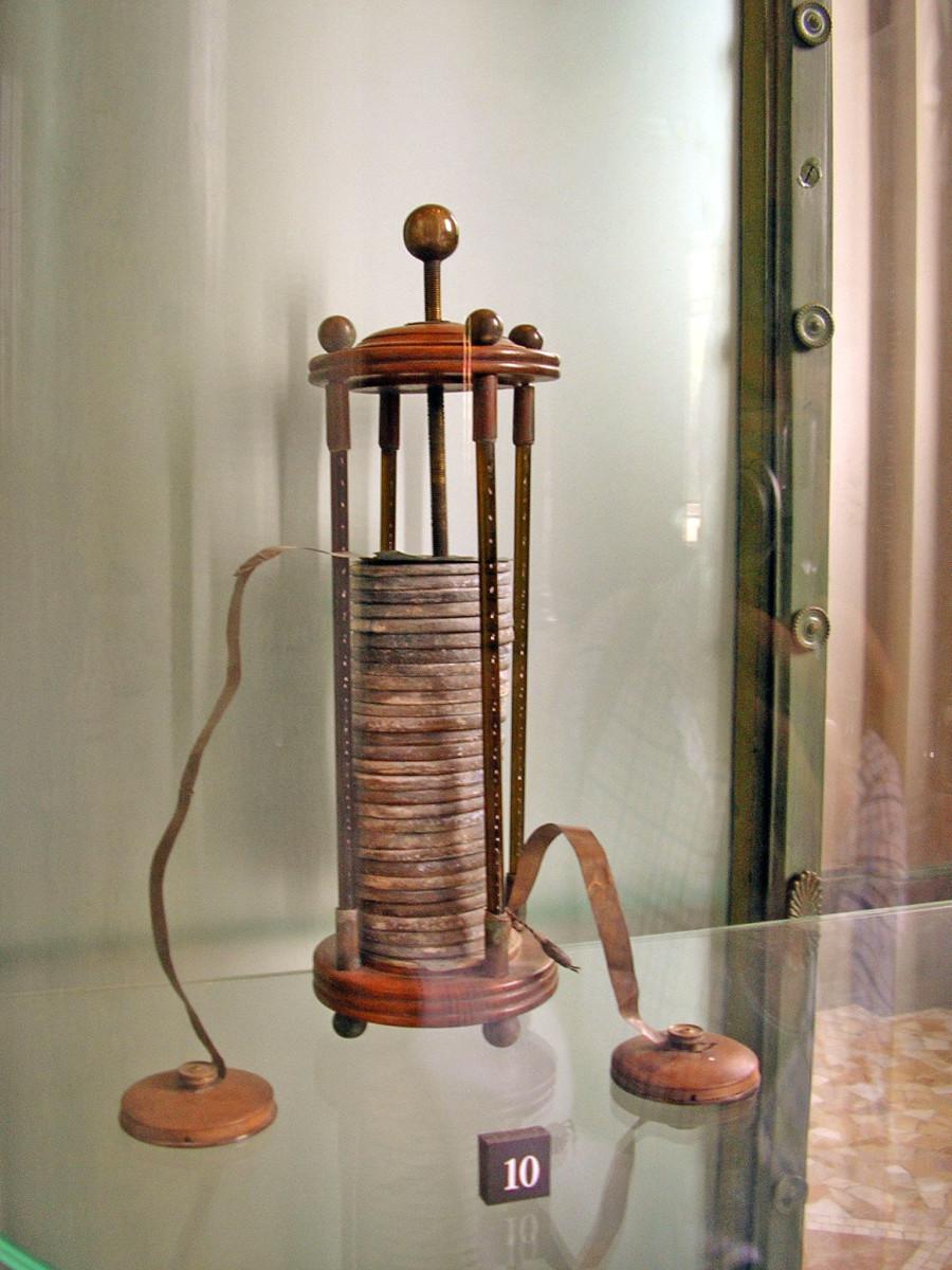 Alessandro Volta's electric battery prototype