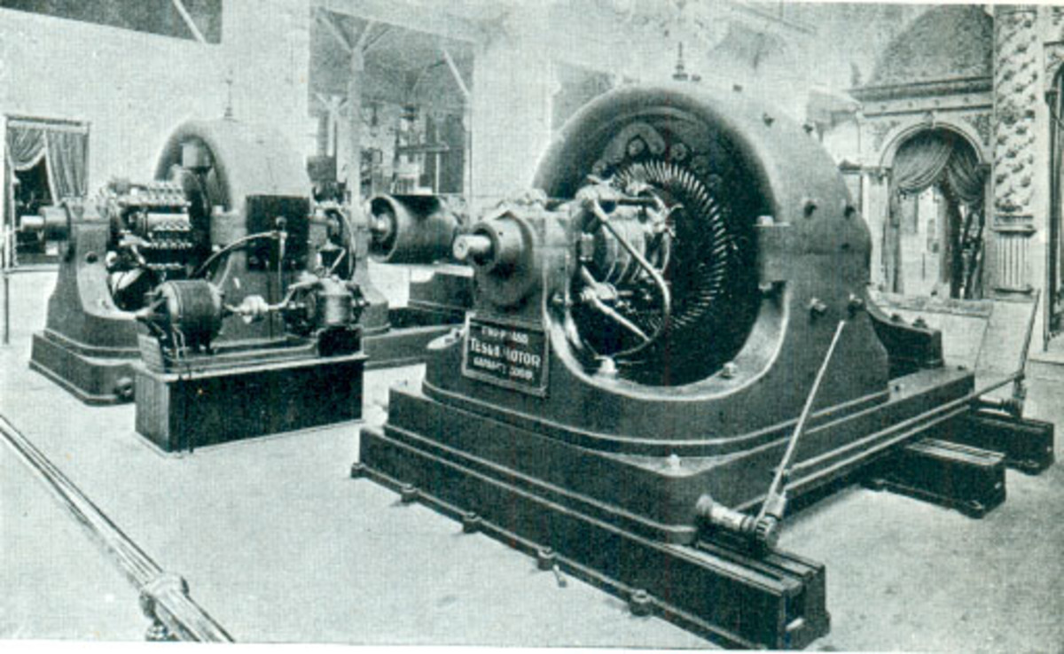Tesla's Polyphase Alternating Current 500 horse power generator, in Westinghouse exhibit in the Electricity building of the 1893 World Columbian Exposition in Chicago.