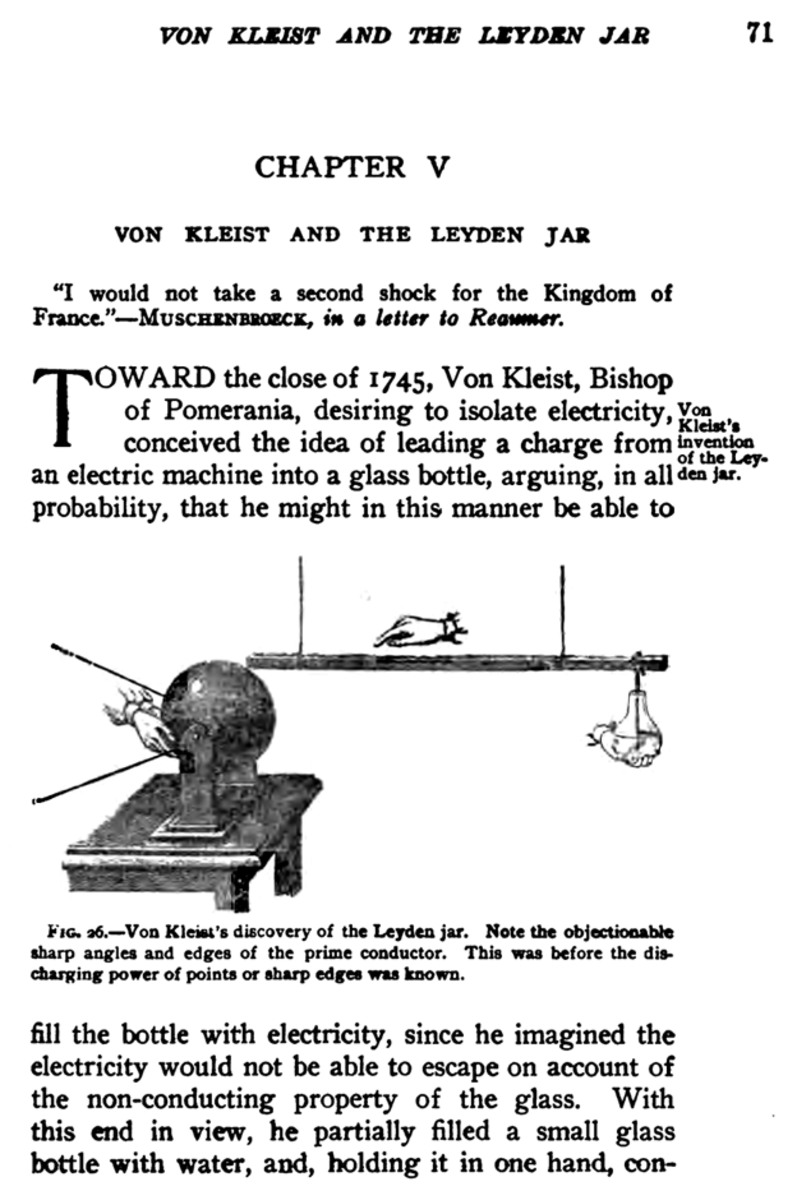 page with text and figure about von Kleist's invention of the Leyden jar