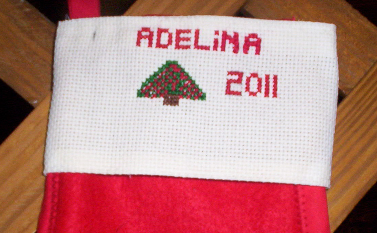 Make A Christmas Stocking With A Counted Cross Stitch Name On The Cuff: Instructions and Photos