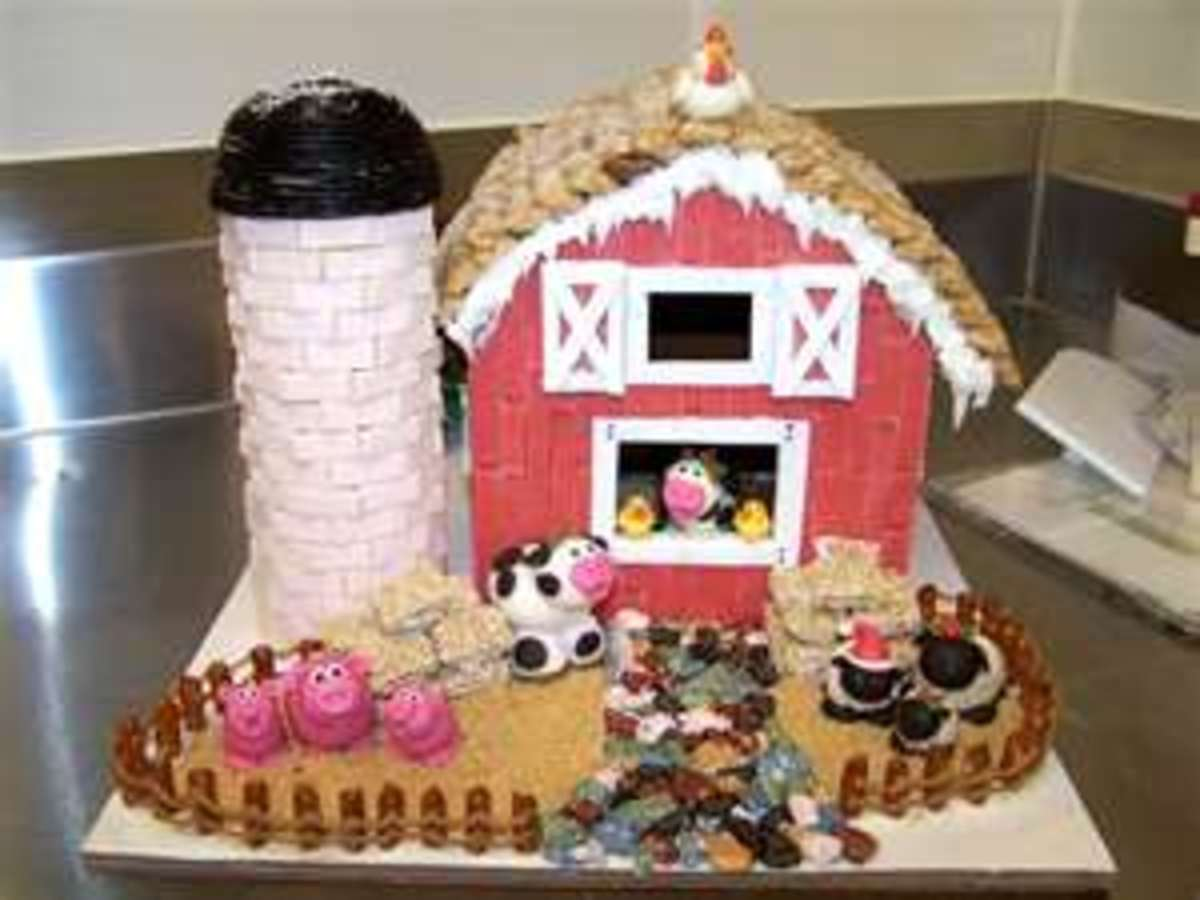 "One of the neatest ""gingerbread houses"" I've ever seen, a gingerbread FARM! Complete with a cow, what could be better?"