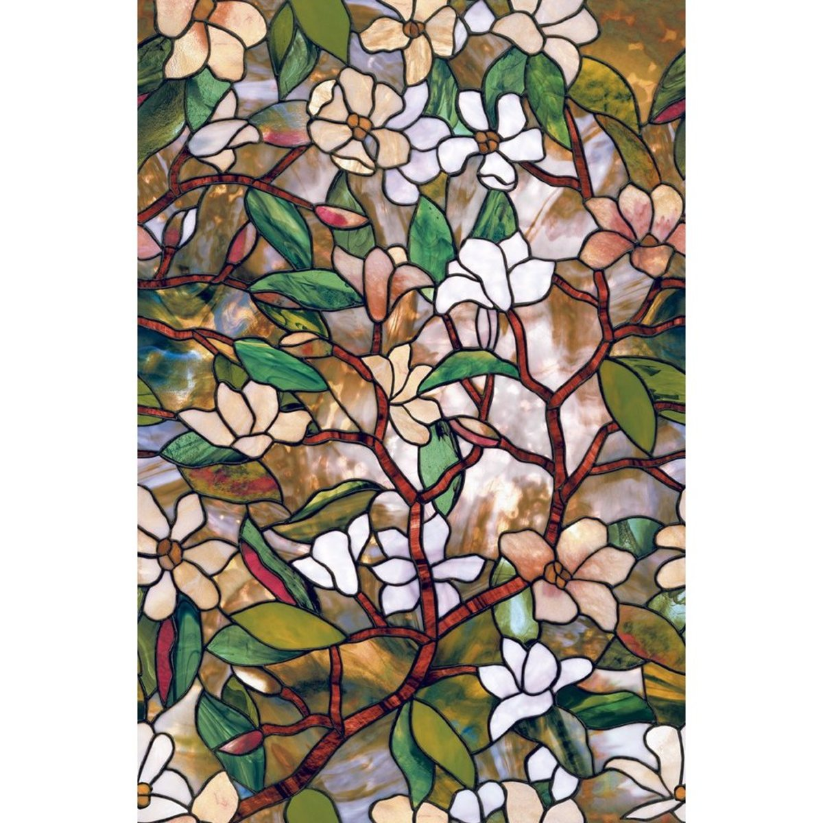 Stained glass window film. It's repositionable and easy to apply. Cut it to any shape! $19 through the Amazon link.