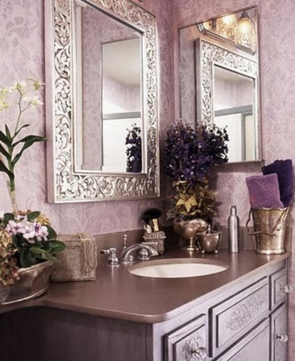 Powder room with lilac wallpaper. You can copy this look with a stencil.