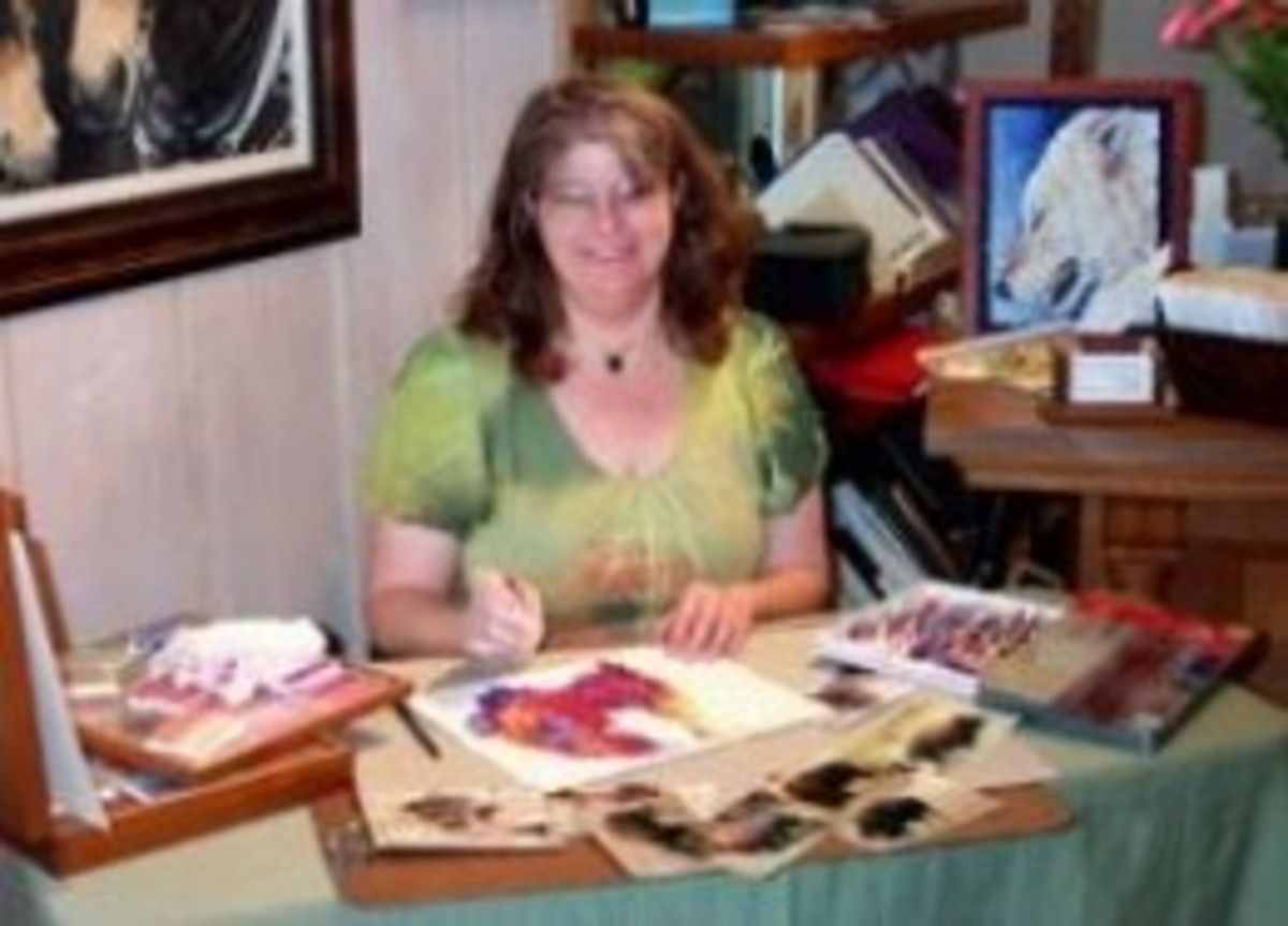 Mona Majorowicz demonstrating at technique at a gallery open house.