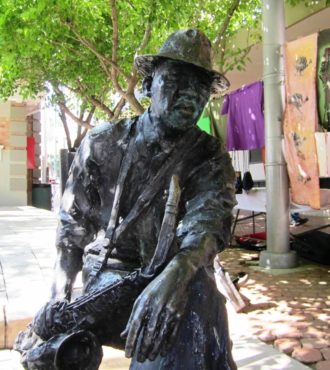 The bronze sculpture of Kippie 'Morolong' Moeketsi (1925-1983) a legendary South African jazz saxophonist.