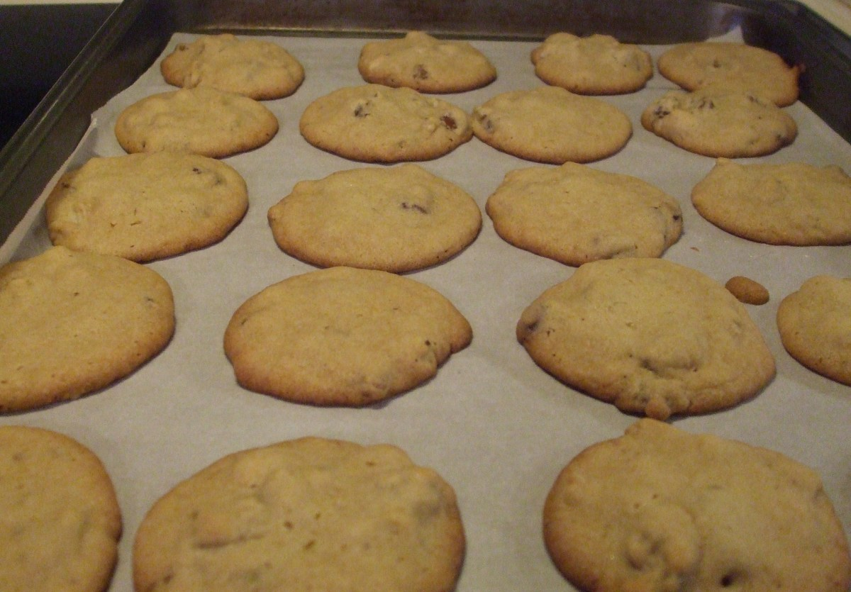 The edges should be lightly browned.  Obviously, my Gramma did not use parchment paper under the cookies, but you can add that feature if you wish.