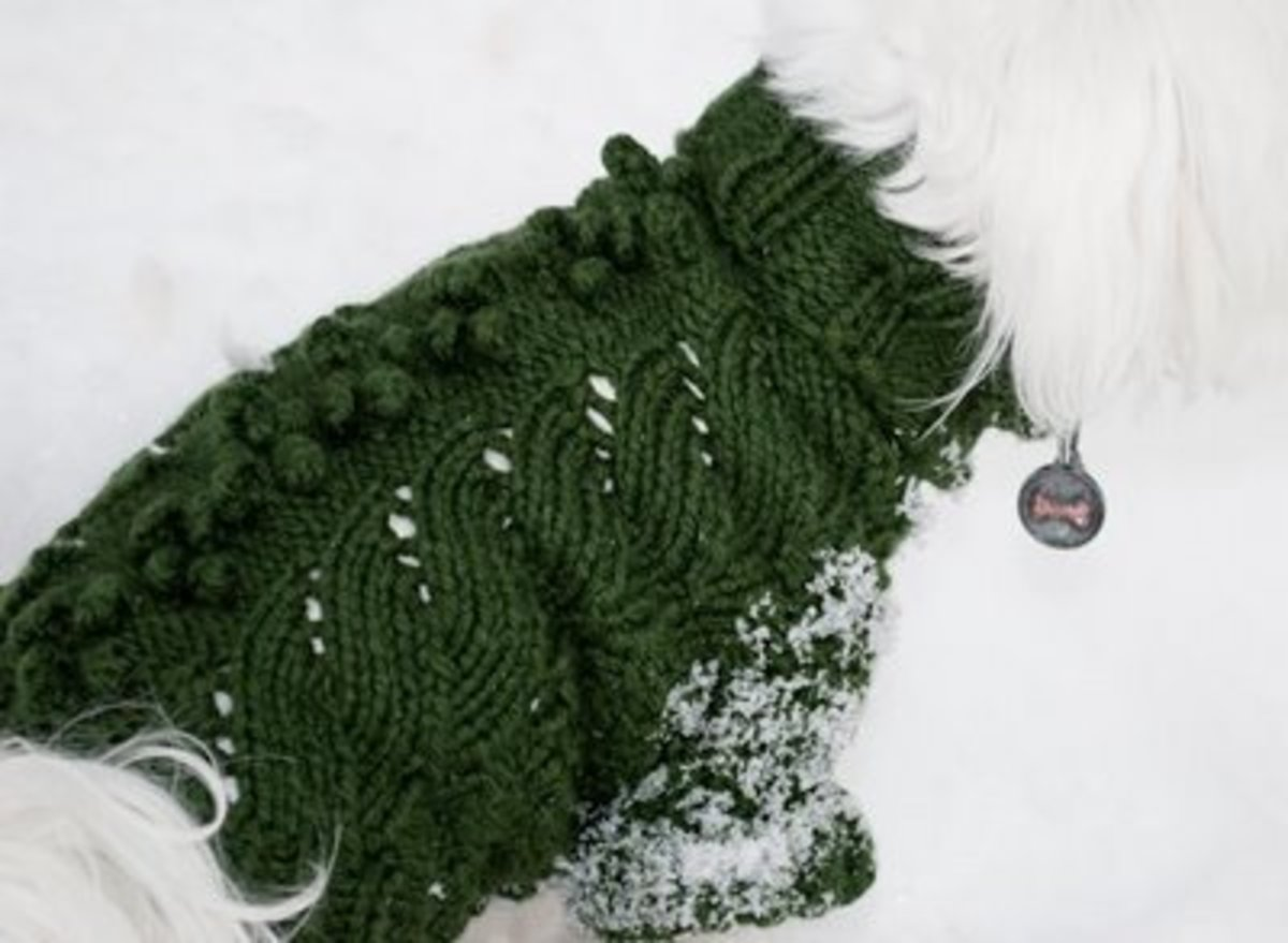 Knitted Leaf Dog Sweater from Mia and Maddie Design