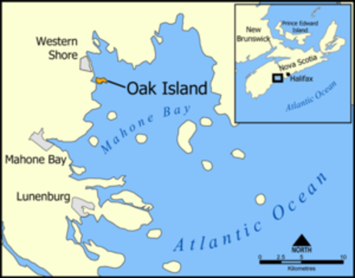 Location of Oak Island, Nova Scotia