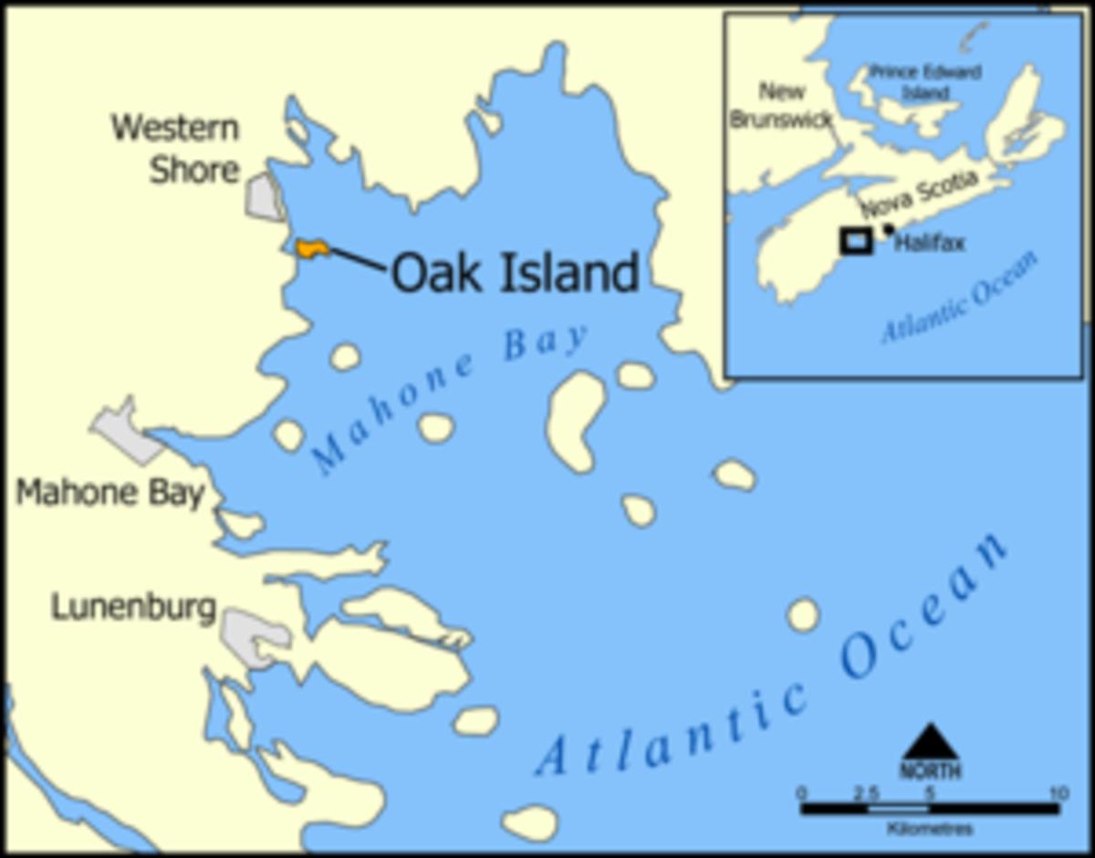 Location of Oak Island, Nova Scotia