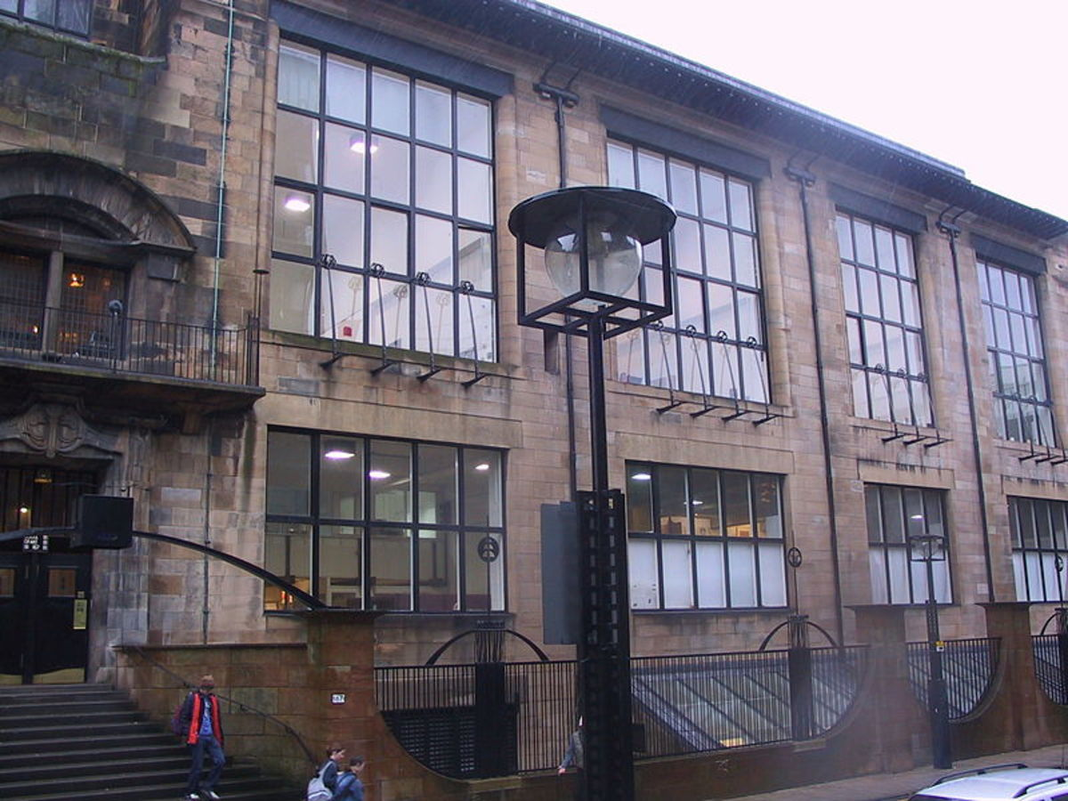 Exterior of Glasgow School of Art, front entranceway, designed by MacKintosh.