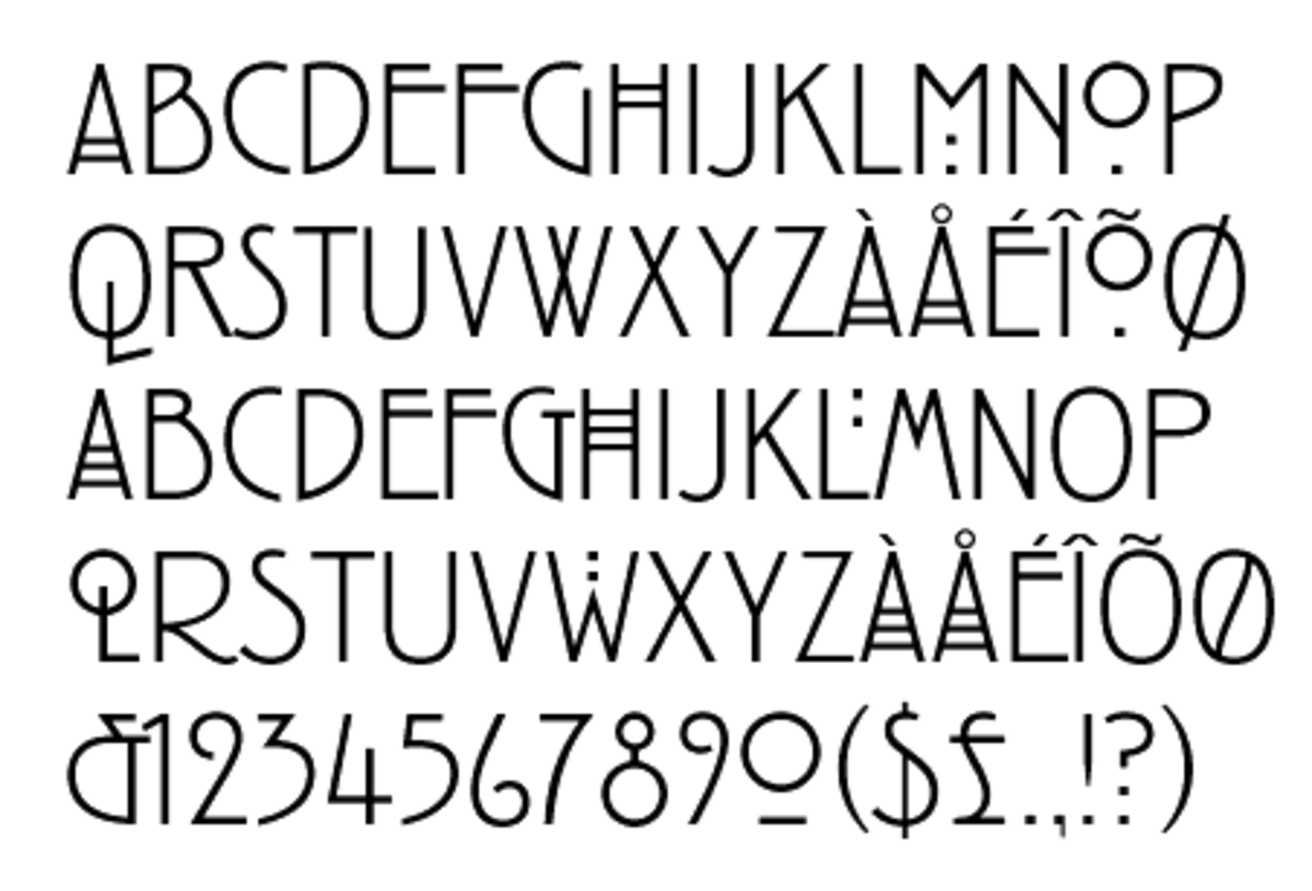 Example of Charles Rennie MacKintosh designed typeface also know as the MacKintosh font
