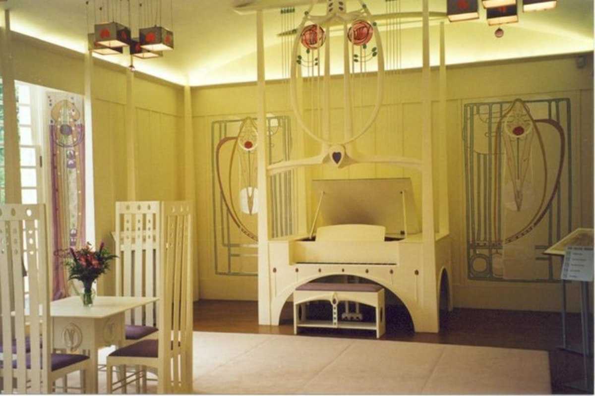 Music room in the House for an Art Lover, designed by MacKintosh but built post-posthumously.