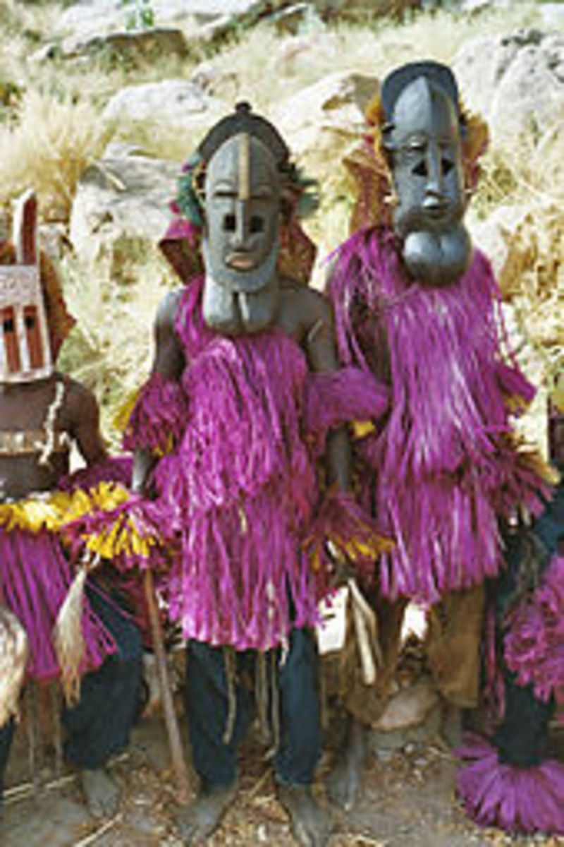 The Dogon people in Ceremonial masks