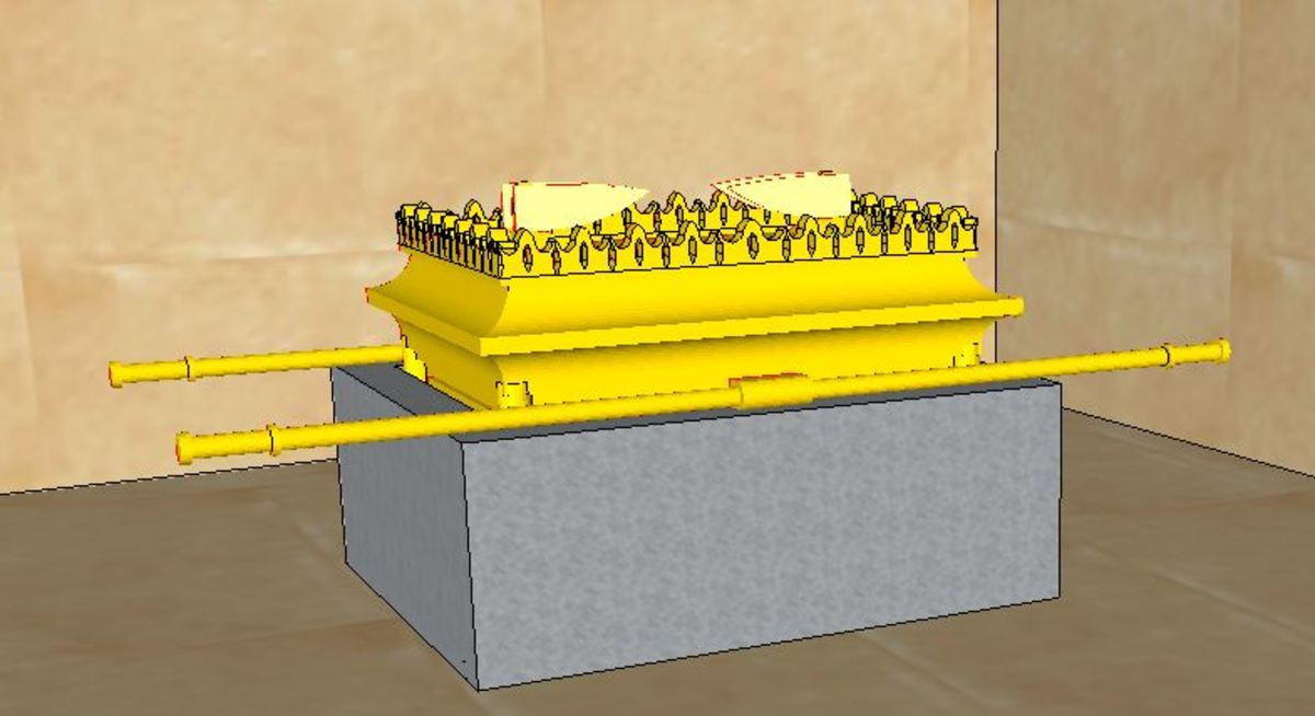 Ark of the Covenant placed inside the stone chest found in the Kings' chamber. Computer generated