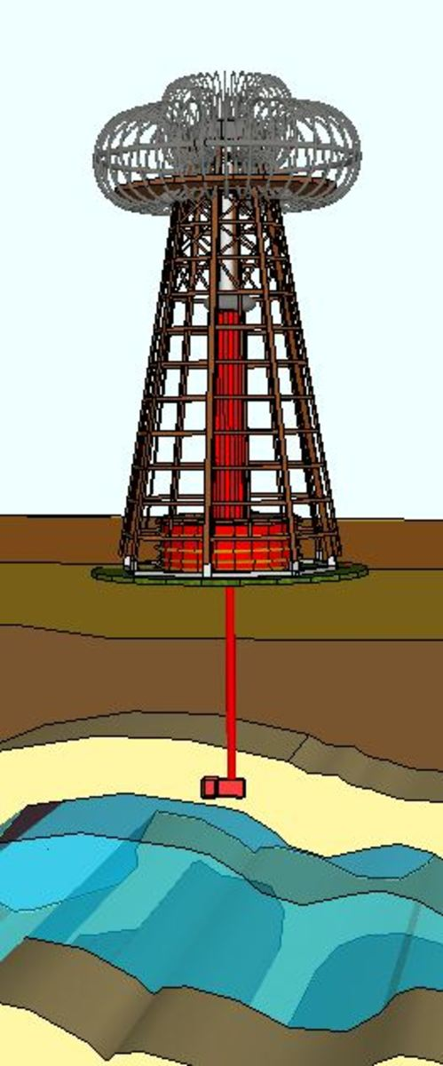Subterranean view of the Wardenclyffe Tower over an aquifer.