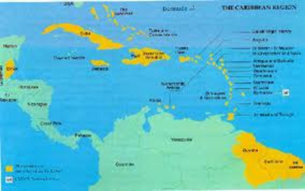The Caribbean region, with members of the Caribbean Community highlighted in yellow.