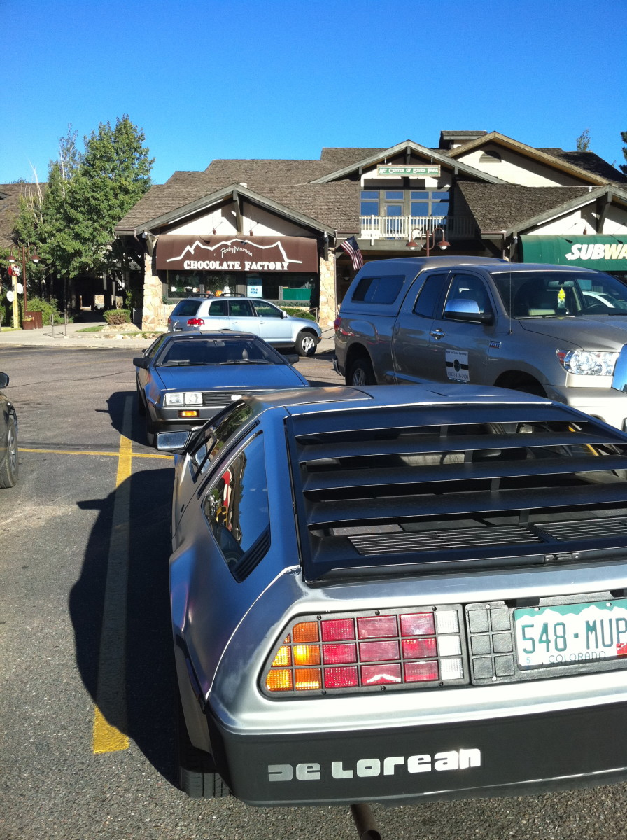Two DeLorean cars in Estes Park.