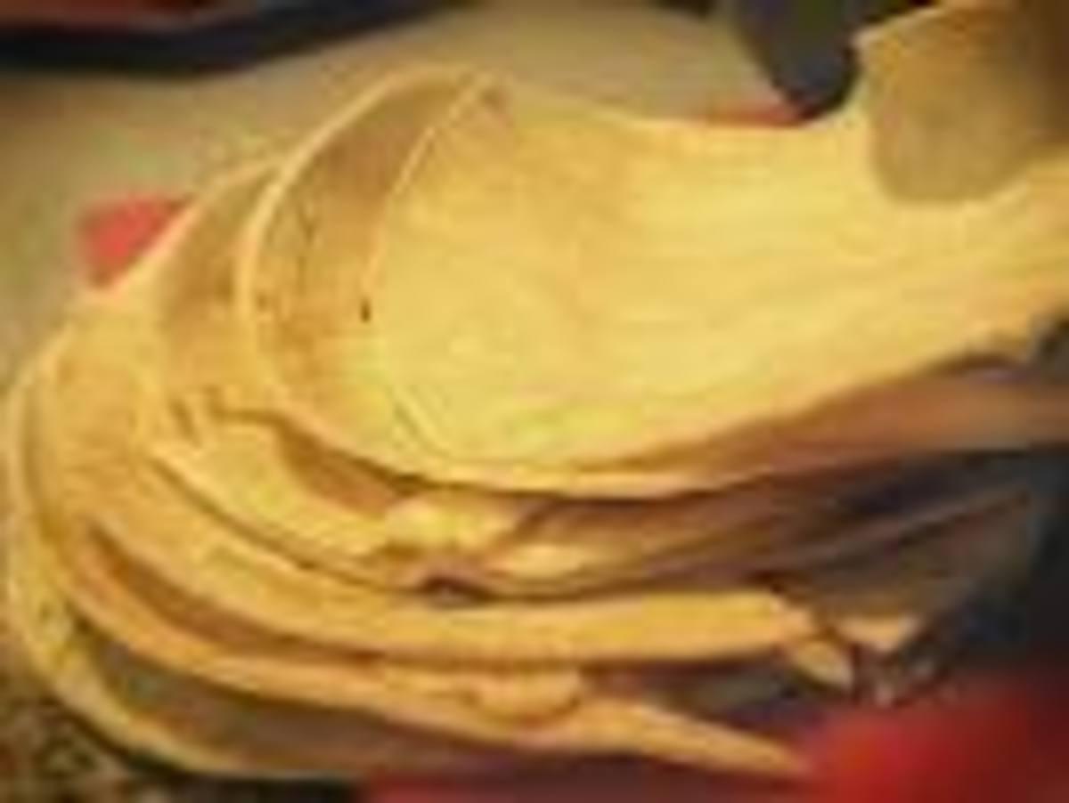 Fry corn tortillas lightly.