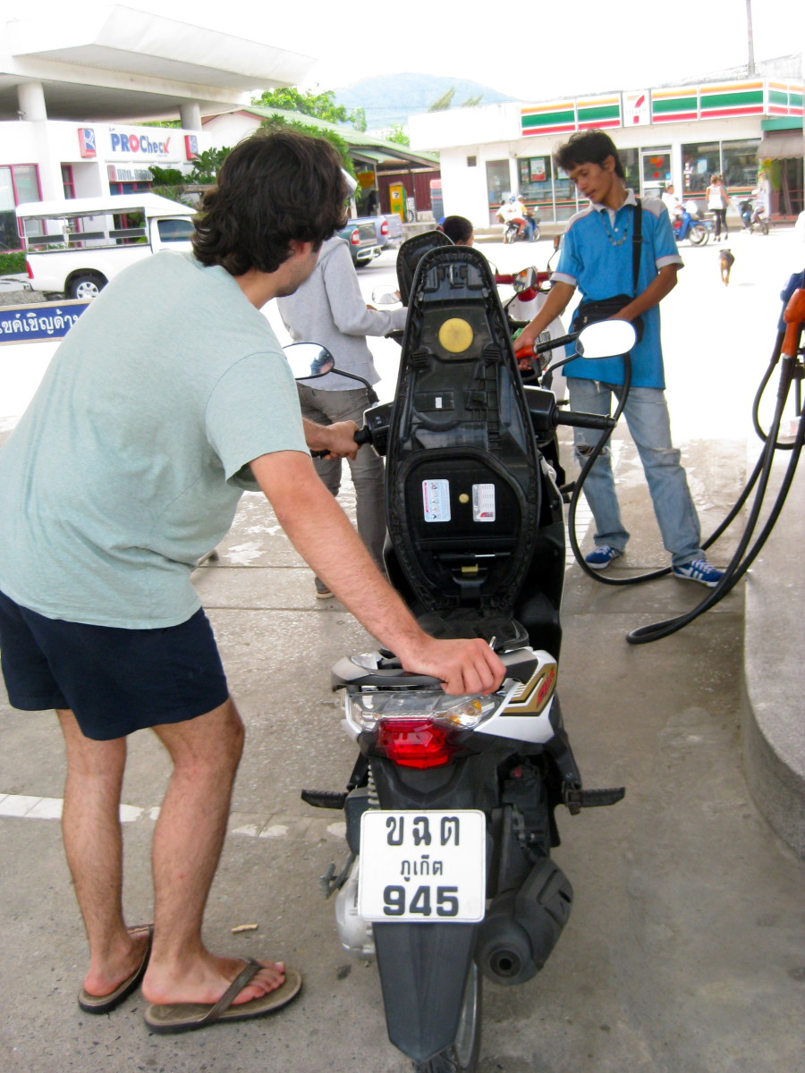 Filling up the gas tank in Phuket