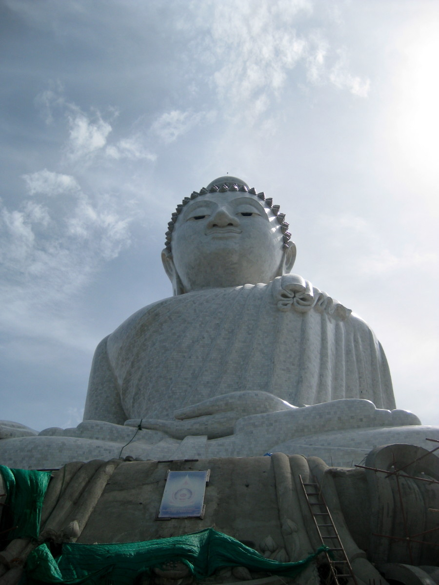 The Big Buddha, 150-feet high and one of the island's most revered landmarks located on top of the highest hill