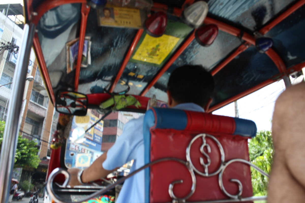 In the back of a tuk tuk